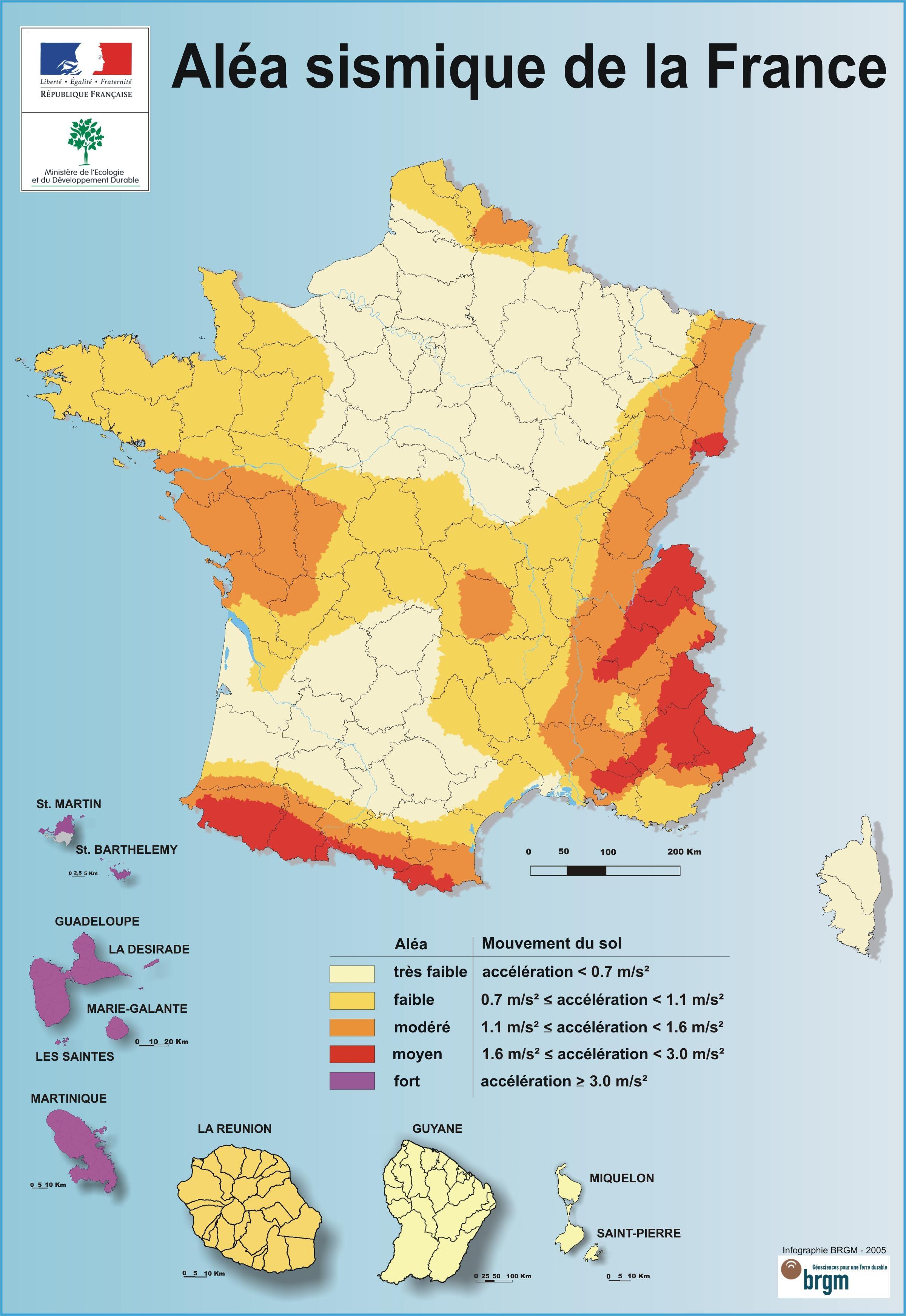 carte de france zone sismique